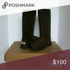 UGG Classic Tall Chocolate 6 Brand new in Box UGG classic tall in chocolate size 6. Bought them and never wore. Please let me know if you have any questions! UGG Shoes Winter & Rain Boots