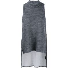1205 Sleeveless High Neck Top ($250) ❤ liked on Polyvore featuring tops, grey, cotton tank, high neck top, grey tank, sleeveless tank and gray top