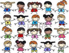 mista etnica felice sfondo di bambini Archivio Fotografico