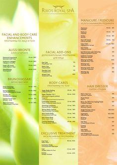 Rixos Royal Spa Menu Design Spa Menu, Menu Design, Manicure And Pedicure, Spa Day, Collagen, Body Care, Salons, Facial, Book
