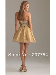 Online Shop DHL/UPS Free Shipping Organza Strapless V-Neck Short Prom Gown/Sequined Mini Ball Gown/Zipper Back Homecoming Dress |Aliexpress Mobile