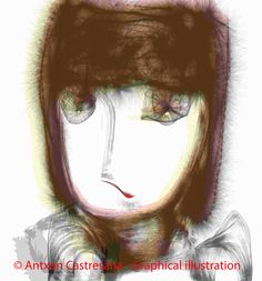 © Antxon Castresana - Graphical illustration Esqui mal . Las pestañas son pesadas, para proteger los ojos del resplandor del sol que se refleja en el hielo, — con Antxon Castresana.  NO puedes tocarme NO puedes olerme NO puedes verme.Que puedo hacer,escribir y escucharte.Pero te puedo sentir.