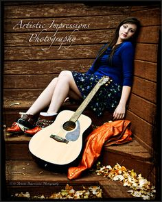 Nothing can make a statement about who you are as an emerging adult like high school senior pictures that capture your personality and style.  Here, high school senior singer, song writer and guitarist Monica speaks to her style with instrument as a prop in this relaxed fall outdoor image at Artistic Impressions Photography in Colorado Springs, Colorado.  See more at www.artisticip.com/high-school-seniors-photography/