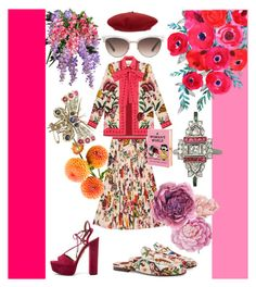 """Gucci Garden Party with added Sparkle"" by ac-silver ❤ liked on Polyvore featuring Gucci, Aquazzura, Ballard Designs, Olympia Le-Tan and vintage"
