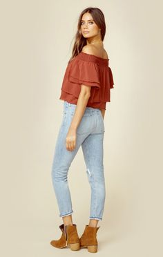 """Blue Life's Show Off the Shoulder top features a layered bodice, off the shoulder neckline, and raw edges.  Made in USADry Clean Only100% RayonFit Guide:Model is 5ft 9 inches; Bust: 32"""", Waist: 24"""", Hips: 34""""Model is wearing a size XSRelaxed FitShoes Featured Not Available For Purchase"""