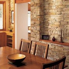 Magnetic Interior Walls Designed with Stones : Classy Dining Room With Awesome Brown Wooden Table Set And Interior Stone Wall Stone Wall, Indoor Stone Wall, Stone Walls Interior, Stone Interior, Stone Accent Walls, Interior Wall Design, Brick And Stone, Interior Walls, Classy Dining Room