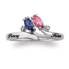 $119 Sterling Silver Diamond Accent Couple's Birthstone Ring (2 Stones and Names) - View All Personalized Jewelry - Zales