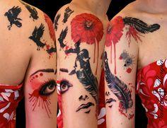 Trash polka feather and poppy flower tattoo.