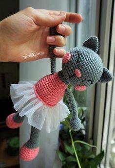 gato de la bailarina patrón de la muñeca de ganchillo