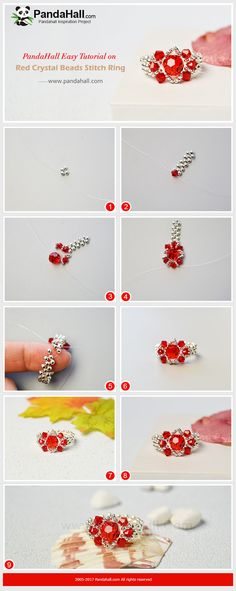 Red Crystal Beads Stitch Ring - Do you wanna a bling bling red crystal ring? Today we will show you how to make a delicate and inexpensive crystal beads stitch ring. Bead Jewellery, Seed Bead Jewelry, Wire Jewelry, Jewelry Crafts, Handmade Jewelry, Beaded Rings, Beaded Bracelets, Beaded Crafts, Diy Rings