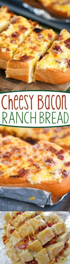 I've put all your favorites together in this fantastic and easy Cheesy Bacon Ranch Bread! Make it in the oven or on grill - it's your choice! A tasty addition to game day or any meal! Try making with Jimmy John's Day Old French Bread Bacon Recipes, Appetizer Recipes, Bread Recipes, Cooking Recipes, Bread Appetizers, Recipes Dinner, Potato Recipes, Casserole Recipes, Pasta Recipes