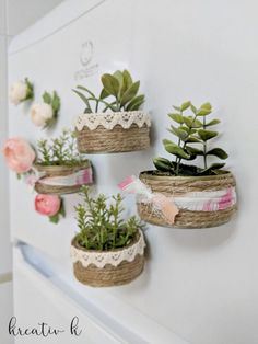Give your fridge a whole lot of Spring vibes with these DIY mini planter magnets using tuna cans! Tin Can Crafts, Fun Crafts For Kids, Summer Crafts, Diy And Crafts, Cute Diy Projects, Diy Magnets, Indoor Plant Pots, Art N Craft, Diy Planters