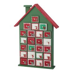 Christmas Wooden House Advent Calendar - Personalised in your colour choices with glitter, buttons and more.