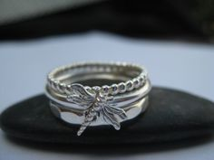 Dainty Dragonfly Stacking Rings by TheGreenGlassDoor on Etsy, $75.00