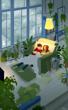 Husband's Illustrations Beautifully Capture The Cozy Feeling Of Couple Illustration, Illustration Art, Stock Design, Pascal Campion, Couple Art, Art Design, Illustrations And Posters, American Artists, Love Art