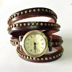 Wrap Watch , Vintage Style, Genuine Leather Watch, Women Watches, Fashion  Watch, Studded Watch Brown
