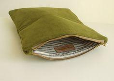 Corduroy Foldover Clutch - Bird Applique - Olive Green - Envelope Purse - Vegan. $34.00, via Etsy.