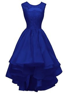 Bess Bridal Women´s High-Low Beaded Lace Organza Prom Party Evening Dresses US8 Royal Blue