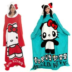 i have the red and white hello kitty blanket, it has the cutest hood with ears and a bow and it is super warm and comfy. love it!