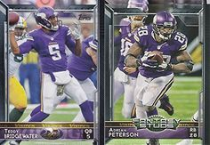 Minnesota Vikings 2015 Topps NFL Football Complete Regular Issue 16 Card Team Set Including Cordarrelle Patterson, Adrian Peterson, Teddy…