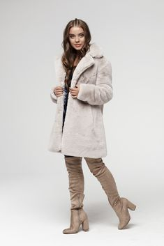 Elegant Faux Fur Coat - very comfortable and plushy in touch. Warm alternative for or Long Faux Fur Coat, Fake Fur, Winter Sweaters, Sweater Jacket, Winter Jackets, Beige, Model, Collection, Fashion