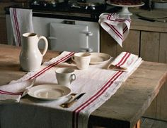 Pretty tea towels can easily double as a two-sided placemats. I love this simple rustic look for Thanksgiving. I picked up a few Libeco kitchen linens in a khaki stripe this summer. Table Vintage, Rustic Table, Farmhouse Table, Vintage Kitchen, Rustic Decor, French Kitchen, Rustic Crafts, Kitchen Linens, Kitchen Decor
