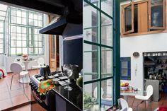 Una casa chorizo renovada  Sillas blancas Jacobsen modelo Mariposa ($715, Manifesto). Enmarcando la abertura que limita la cocina, una colección de antiguas publicidades cubanas y muñequitas compradas en el Barrio Chino..