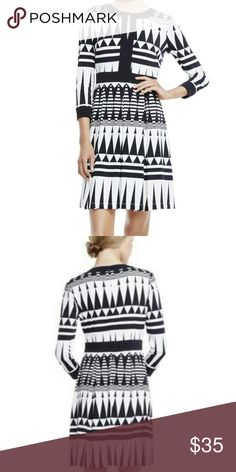 Vince Camuto Tribal Keyhole Dress Gorgeous!!! Size 8...19 inches across the vust, 38 inches in length. Lined. Hidden zipper in back! Vince Camuto Dresses
