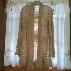 Dressy beige cardigan., lightweight. NWOT. Pretty lacy look.has elastic  in back at waist. Long sleeve Indigo soul Tops
