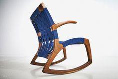 Martin Goebel's Luna rocking chair in white oak with fiber webbing and Kelvar-reinforced laminated rockers by Goebel & Co. Furniture.