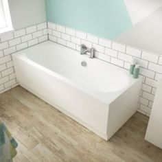 Forenza Double Ended Bath - 1700 x 750mm | Wickes.co.uk New Bathroom Ideas, Bathroom Inspo, Back To Wall Bath, Built In Bath, Double Ended Bath, Corner Tub, Bath Panel, Soaking Bathtubs, Tub Surround
