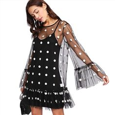 SHEIN Women Party Dresses Black and White Long Sleeve Ruffle Hem Dress Exaggerate Flounce Sleeve Polka Mesh Overlay Dress - EnsoStore Party Dresses For Women, Trendy Dresses, Day Dresses, Dresses Online, Fashion Dresses, Summer Dresses, Mode Outfits, White Long Sleeve, The Dress