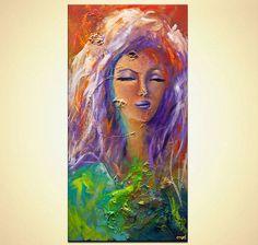 Original colorful woman portrait painting Devotion Acrylic