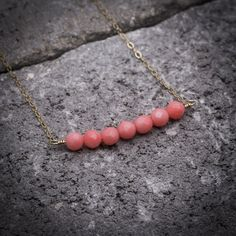 Coral necklace coral jewelry bar necklace natural stone by ByYaeli