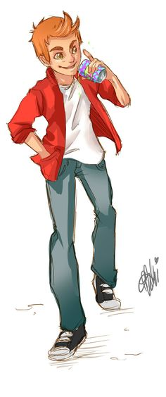 """Nicely done #anime version of """"Phillip J. Fry"""" by ElementalMutant   #Futurama"""