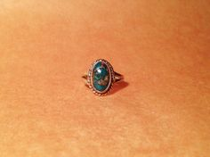 Deep Blue Turquoise Gemstone Ring in Vintage Sterling Silver - Simple Ring Design - Native American Jewelry by ShopCheni, $35.00
