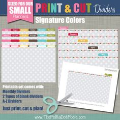 Our New PRINT & CUT Dividers are the perfect addition to your planner and coordinate beautifully with our Seasonal, Signature and Simplistic Small Planner, Student Planner Printable, Printing Supplies, Custom Planner, White Bar, Journal Template, Planner Organization, Planner Pages, Signature Design