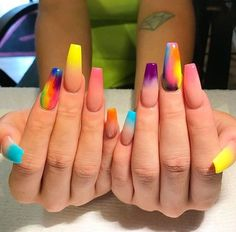 Multicolored Coffin Nails