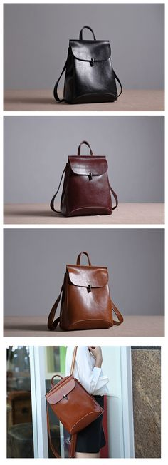 Handmade Women's Fashion Leather Backpack Messenger Bag Handbag 9211