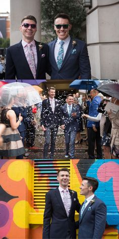 Two different colours of the same Liberty print were the choice for these two grooms at this joyful same sex wedding. The grooms' ties were made from Liberty's Elysian Day design - a grey and pink floral tie and a blue floral tie Groom Ties, Groom And Groomsmen, Greek Wedding, Post Wedding, English Country Weddings, Garden Party Wedding, Melbourne Wedding, Wedding Ties, Liberty Print