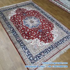 B39   6' x 9' Persian Rug, Silk Face and Silk Fringe, 324kpsi Handmade Rug Made By Yilong Carpet.