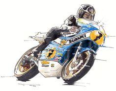 Motorcycle Racers, Motorcycle Posters, Moto Bike, Motorcycle Art, Bike Art, Japanese Motorcycle, Speed Bike, Old Bikes, Automotive Art