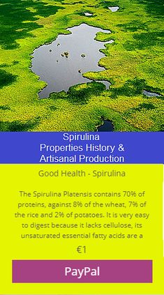 The Spirulina Platensis contains 70% of proteins, against 8% of te wheat, 7% of the rize and 2% of patatoes. It is very easy to digest because it lacks cellulose, its unsaturated essntian fatty acids are .....