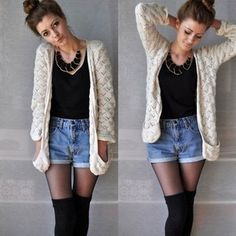 High waisted shorts with tights and thigh high socks. Sweater, statement necklace, sock bun.