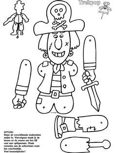 Piraat - Trekpoppen - Knutselpagina.nl - knutselen, knutselen en nog eens knutselen.