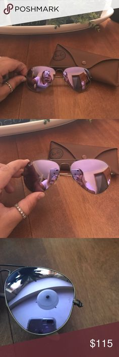 Purple Mirror Polarized Ray-Ban Aviators Purple Mirror with bronze frame Ray-Ban aviators. These are Polarized for extra eye protection. RB is shown etched into the lense for authentication. Mint condition, comes with case and cleaning cloth. Ray-Ban Accessories Sunglasses
