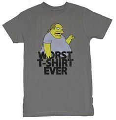 The Simpsons Mens T-Shirt - Worst Shirt Ever Comic Book Guy Image (Extra Large) Light Gray