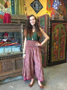 9798f657aa4 Hippie Boho Divided Skirt Vintage Recycled Silk Flare Wide Leg Pant Maxi  Skirts