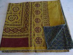 Queen Kantha Quilt, Kantha Blanket Throw, Kantha Bed Cover, Kantha Bedspread 003 #Handmade