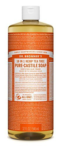 Dr Bronners Purecastile Liquid Soap  Fair Trade  Organic 1 Count  Tea Tree 32 Ounce -- Details can be found by clicking on the image.
